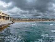 Exterior Of Real Club Nautico De San Sebastian On A Stormy Day