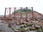 Solway Viaduct Embankment End With Old Bridge Supports Bowness On Solway, Cumbria